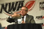 NWA Democrat-Gazette/FLIP PUTTHOFF Jeff Long, University of Arkansas, Fayetteville, athletic director, answers questions Wednesday Sept. 6 2017 at the NWA Touchdown Club.