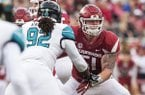 Hawgs Illustrated/BEN GOFF Hjalte Froholdt, Arkansas left guard, blocks during the game against Coastal Carolina Saturday, Nov. 4, 2017, at Reynolds Razorback Stadium in Fayetteville.