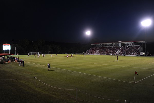 A shot of the crowd during the Arkansas-Vanderbilt match at Razorback Field in Fayetteville on Thursday, Oct. 6, 2016.