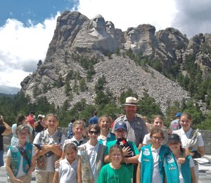 Courtesy Photo Girl Scout Troop 5340 is shown at Mount Rushmore, where they gave a presentation on properly folding the American flag.