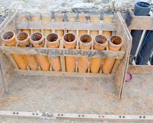 Keith Bryant/The Weekly Vista Mortar tubes sit ready to go with an electronic ignition system wired up.
