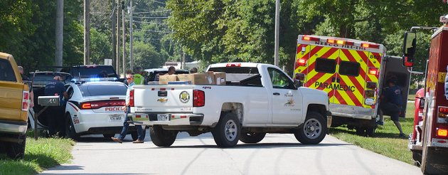 the-times-of-northeast-benton-countyannette-beard-pea-ridge-street-superintendent-nathan-see-brought-several-child-car-seats-to-the-scene-of-a-motor-vehicle-collision-involving-an-adult-male-hitting-children-on-halleck-lane-this-morning-emergency-personnel-from-pea-ridge-fire-department-and-northeast-benton-county-volunteer-fire-department-ambulances-were-dispatched-to-the-scene-pea-ridge-police-investigated-the-incident
