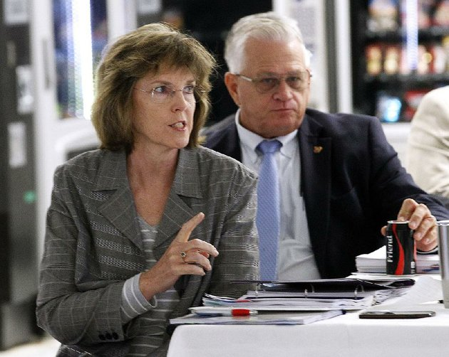 arkansas-department-of-correction-director-wendy-kelley-left-answers-a-question-during-the-board-of-corrections-meeting-wednesday-at-the-wrightsville-unit