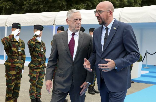defense-secretary-james-mattis-left-talks-with-belgian-prime-minister-charles-michel-as-they-arrive-wednesday-for-an-event-in-brussels-the-us-is-pressuring-nato-allies-to-spend-more-on-defense