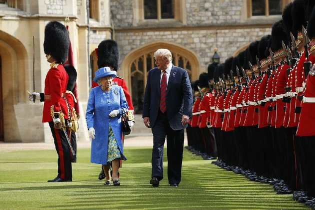 president-donald-trump-and-queen-elizabeth-ii-inspect-the-troops-on-friday-at-windsor-castle-trumps-audience-with-the-queen-closed-out-his-two-day-visit-to-england