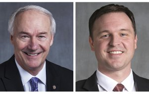 Gov. Asa Hutchinson (left) and Democratic gubernatorial candidate Jared Henderson