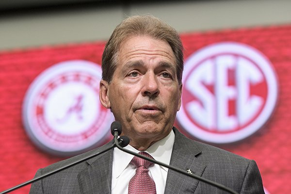 NCAA college football head coach Nick Saban of Alabama speaks during the Southeastern Conference Media Days at the College Football Hall of Fame in Atlanta, Wednesday, July 18, 2018. (AP Photo/John Amis)