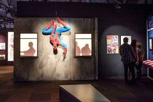 Spider-Man hangs around the Marvel Universe of Super Heroes exhibit at the Museum of Pop Culture in Seattle.