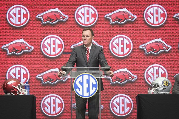 Arkansas head coach Chad Morris speaks during the NCAA college football Southeastern Conference media days at the College Football Hall of Fame in Atlanta, Tuesday, July 17, 2018. (AP Photo/John Amis)