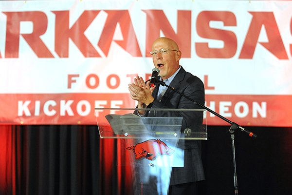 Chuck Barrett, voice of the Razorbacks, speaks Friday, Aug. 18, 2017, during the Kickoff Luncheon at the Northwest Arkansas Convention Center in Springdale.