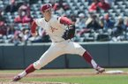 Arkansas' Bryce Bonnin pitches against Kent State Sunday March 11, 2018 at Baum Stadium in Fayetteville. Arkansas won 11-4.