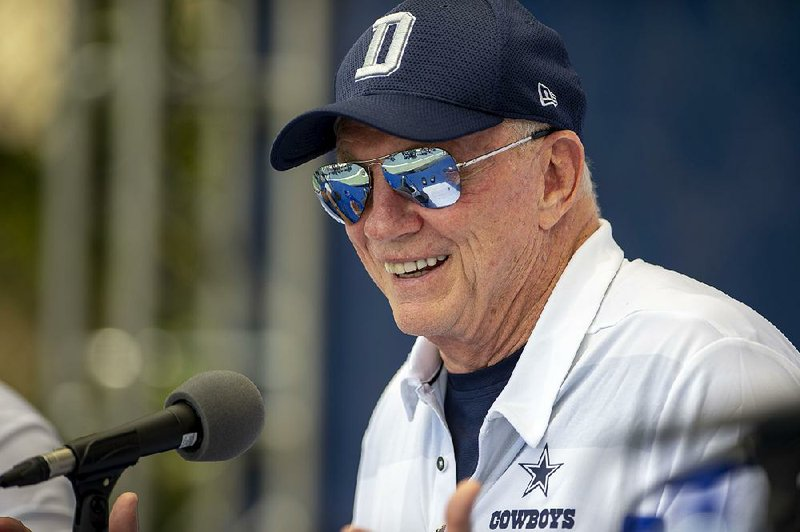 8f5111efd48d23 Dallas Cowboys owner Jerry Jones speaks during a news conference Wednesday  to open training camp in Oxnard, Calif. Jones became the first NFL owner to  say ...