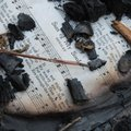 A hymnal page lies among the remnants of the July 19 fire that swept through Westminster Presbyteria...