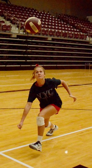 Graham Thomas/Herald-Leader Siloam Springs senior Katie Kendrick goes after a ball during volleyball practice on Monday at Panther Activity Center. The Lady Panthers held their first official fall practice on Monday in preparation for the 2018 season.
