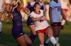 Arkansas midfielder Taylor Malham passes the ball during a match against Kansas State on Saturday, Aug. 4, 2018, in Fayetteville.