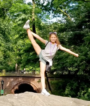 Photo submitted Samantha Handcock Blair practiced a heel stretch in Central Park during her trip to New York, N.Y. for the All Star Dancers National Convention in New York City. Samantha's mom, Angela Blair, said she practices 24/7.