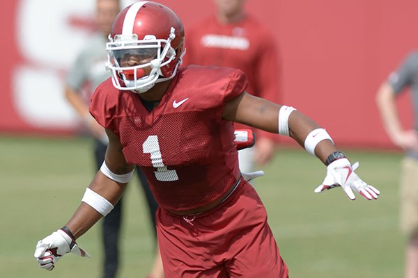 Arkansas defensive back Chevin Calloway defends during a drill Tuesday, Aug. 7, 2018, during practice at the university practice fields in Fayetteville.