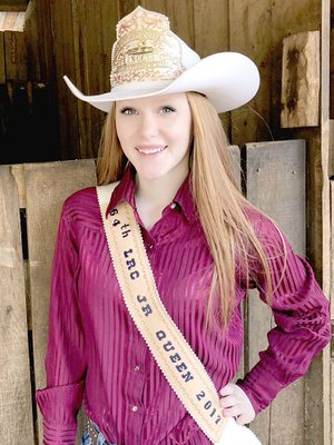 Submitted photo Alexis Arnold, 15, daughter of Mike and Amanda Arnold, of Cane Hill, won the 2017 Lincoln Riding Club junior queen crown. Her younger sister, Mika, has thrown her hat in the ring to become Alexis' successor competing in the 2018 LRC royalty pageant.
