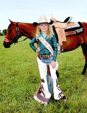 Submitted photo Olivia Moody, 12, daughter of Hannah Johnson and Josh Moody, of Siloam Springs, won the 2017 Lincoln Riding Club princess crown, and will be among Lincoln Riding Club royalty presiding over the 2018 Lincoln Rodeo.