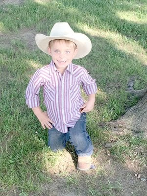 Submitted photo Karson Sampley, 5-year-old son of Ronnie and Sara Sampley, of Lincoln, is a candidate for 2018 Lincoln Riding Club Lil' Mister.