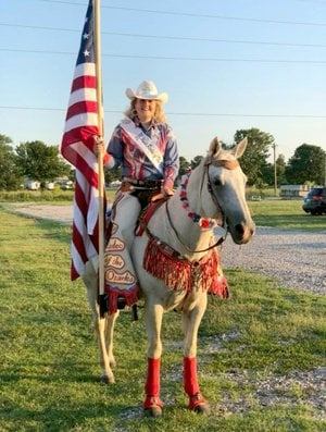 Photo submitted Lindsey Thompson of Kansas, Okla., was crowned queen of the 2018 Rodeo of the Ozarks in Springdale in June. Thompson is a former Siloam Spring Rodeo Queen and a member of the Siloam Springs Riding Club.