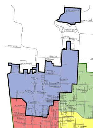 Image submitted Voters in Ward I will have three candidates to choose from -- former Siloam Springs Mayor David Allen, Mindy Hunt and Fares Trinidad -- during the Aug. 14 primary election for the Ward I city board seat. Ward I, highlighted in black, is located on the northwest side of the city.