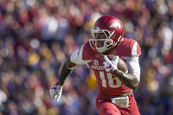 Arkansas receiver La'Michael Pettway runs after a catch during a game against LSU on Saturday, Nov. 11, 2018, in Baton Rouge, La.