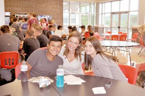 RACHEL DICKERSON/MCDONALD COUNTY PRESS Matthew Mora (left), Hailey Staib and Reese Walsh take their lunch break during freshman academy at McDonald County High School on Tuesday.