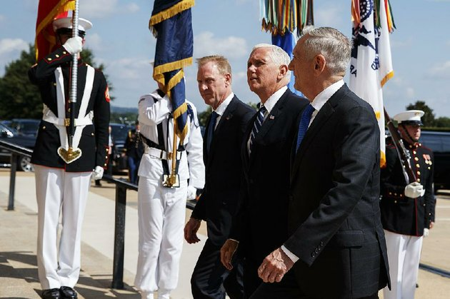 vice-president-mike-pence-center-walks-thursday-with-deputy-secretary-of-defense-pat-sha-nahan-left-and-secretary-of-defense-james-mattis-before-speaking-at-the-pentagon-about-the-creation-of-a-us-space-force