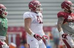 Austin Capps (41) is shown during practice Saturday, April 8, 2017, in Fayetteville. Because of a number of injuries on the offensive line, Capps has been moved to guard from his previous position at defensive tackle.