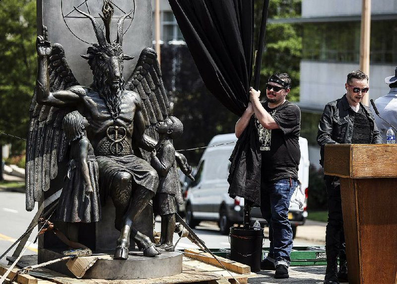 Ralliers urge spot at Arkansas Capitol for Satanic Temple's 7½-foot