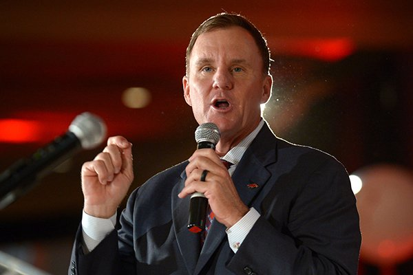 Arkansas coach Chad Morris speaks Friday, Aug. 17, 2018, during the annual Kickoff Luncheon at the Northwest Arkansas Convention Center in Springdale.