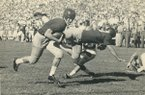 Ronnie Underwood scores one of his two touchdowns against Texas on Saturday, Oct. 15, 1955, in Fayetteville. The Razorbacks defeated the Longhorns 27-20.