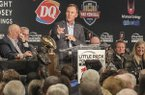 Arkansas coach Chad Morris speaks to the Little Rock Touchdown Club on Monday, Aug. 20, 2018, at Embassy Suites Hotel in Little Rock.