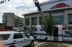 Emergency crews respond after a worker was injured Wednesday at Razorback Stadium in Fayetteville. (Photo by Jaime Adame)