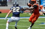Warren running back Vincent Steppes (23) jukes Batesville Southside defender Caden Huskey (22) on Saturday at North Little Rock High School. Steppes rushed for 197 yards and 3 touchdowns on 14 carries to lead Warren to a 42-26 victory.