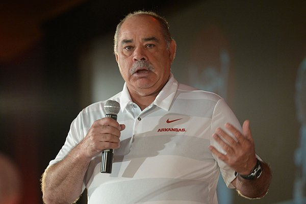 Arkansas defensive coordinator John Chavis speaks Friday, Aug. 17, 2018, during the annual Kickoff Luncheon at the Northwest Arkansas Convention Center in Springdale.