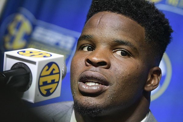 Arkansas linebacker Dre Greenlaw is interviewed during the NCAA college football Southeastern Conference media days at the College Football Hall of Fame in Atlanta, Tuesday, July 17, 2018. (AP Photo/John Amis)