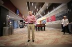 Arkansas athletics director Hunter Yurachek speaks to reporters during a tour of the renovated areas at Donald W. Reynolds Razorback Stadium on Monday, Aug. 27, 2018, in Fayetteville.