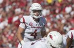 Ty Storey, Arkansas quarterback, in the second quarter vs Eastern Illinois Saturday, Sept. 1, 2018, at Razorback Stadium in Fayetteville.