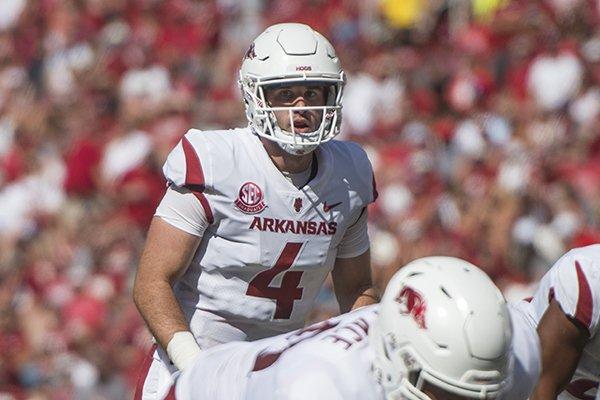 Ty Storey, Arkansas quarterback, in the second quarter vs Eastern Illinois Saturday, Sept. 1, 2018, at Razorback Stadium in Fayetteville.