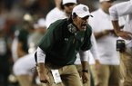 Colorado State Rams head coach Mike Bobo in the first half of an NCAA college football game Friday, Aug. 31, 2018, in Denver. (AP Photo/David Zalubowski)