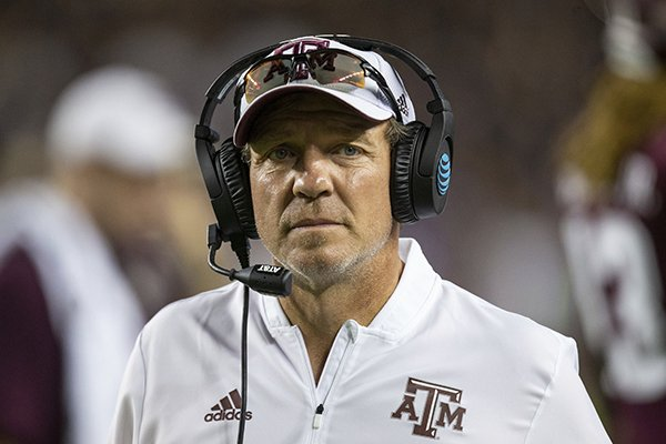 Texas A&M head coach Jimbo Fisher walks the sidelines during the second half of an NCAA college football game against Northwestern State Thursday, Aug. 30, 2018, in College Station, Texas.