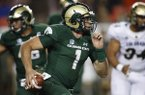 Colorado State Rams quarterback K.J. Carta-Samuels (1) in the second half of an NCAA college football game Friday, Aug. 31, 2018, in Denver. Colorado won 45-13. (AP Photo/David Zalubowski)