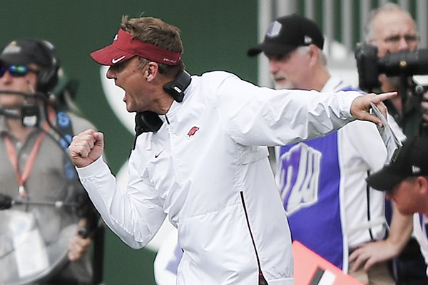 Arkansas coach Chad Morris shouts from the sideline during a game against Colorado State on Saturday, Sept. 8, 2018, in Fort Collins, Colo.