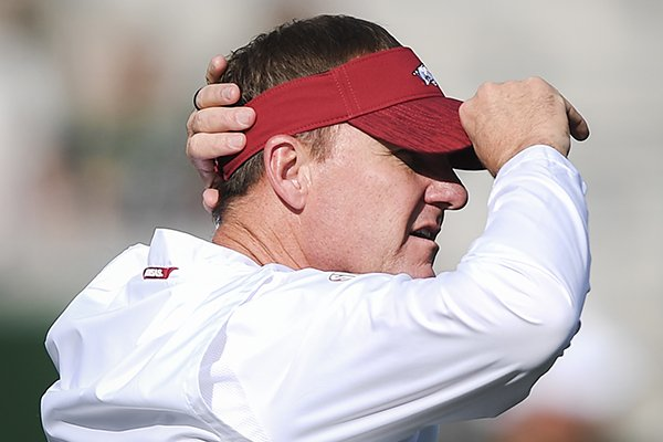 Arkansas Razorbacks head coach Chad Morris watches his players before a football game, Saturday, September 8, 2018 at Colorado State University in Fort Collins, Colo.