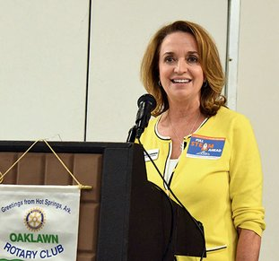 The Sentinel-Record/Grace Brown ROTARY SPEECH: Mid-America Science Museum Executive Director Diane LaFollette speaks to Oaklawn Rotary Club during its weekly meeting Monday at The Hotel Hot Springs & Spa.