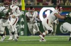Arkansas running back Devwah Whaley carries the ball during a game against Colorado State on Saturday, Sept. 8, 2018, in Fort Collins, Colo.