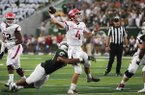 Arkansas Razorbacks quarterback Ty Storey (4) makes a pass during the second quarter of a football game, Saturday, September 8, 2018 at Colorado State University in Fort Collins, Colo.