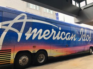 The 'American Idol' tour bus parked in downtown Little Rock on Tuesday